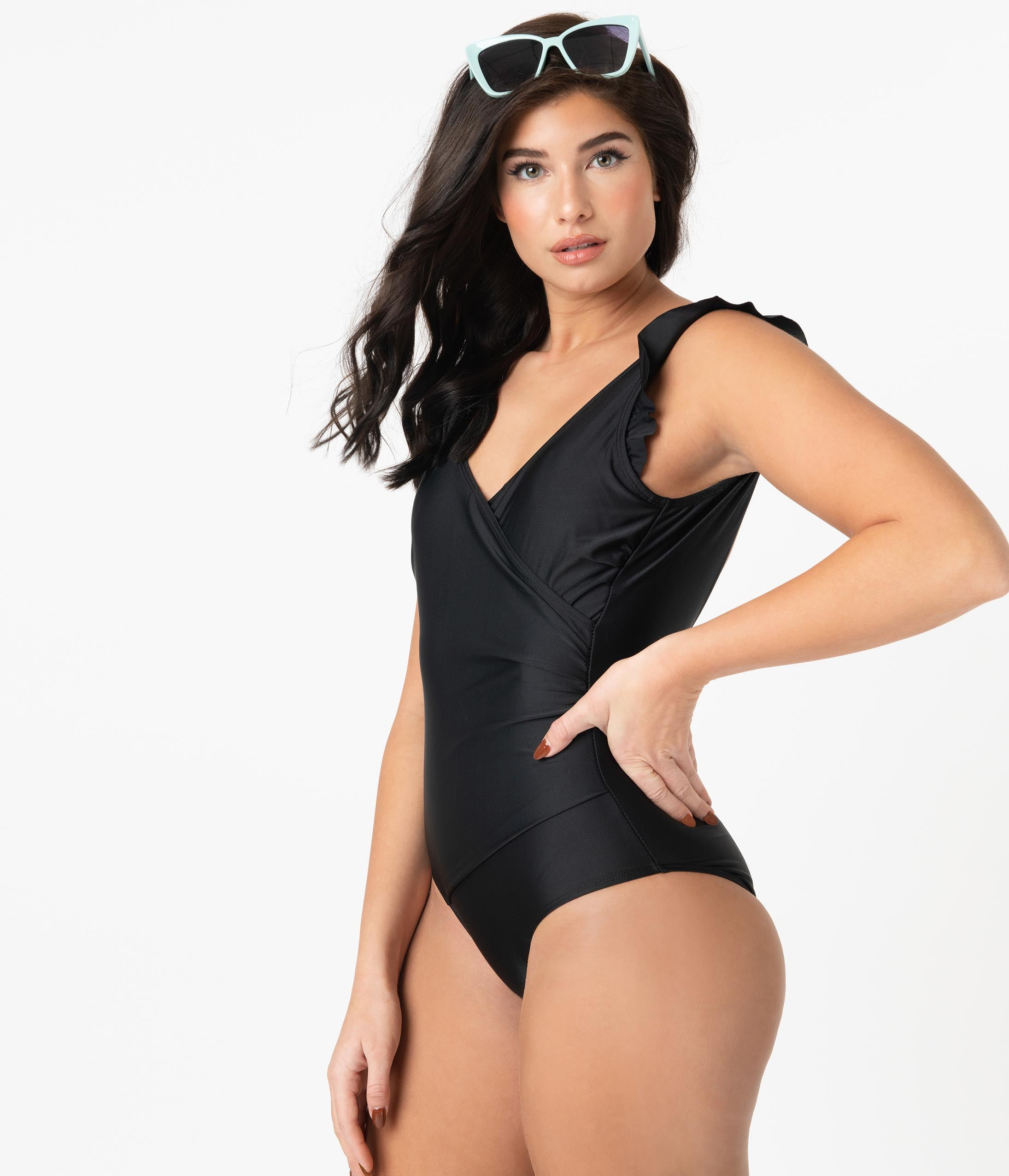 Pin-Up Style Black Ruffle One Piece Swimsuit