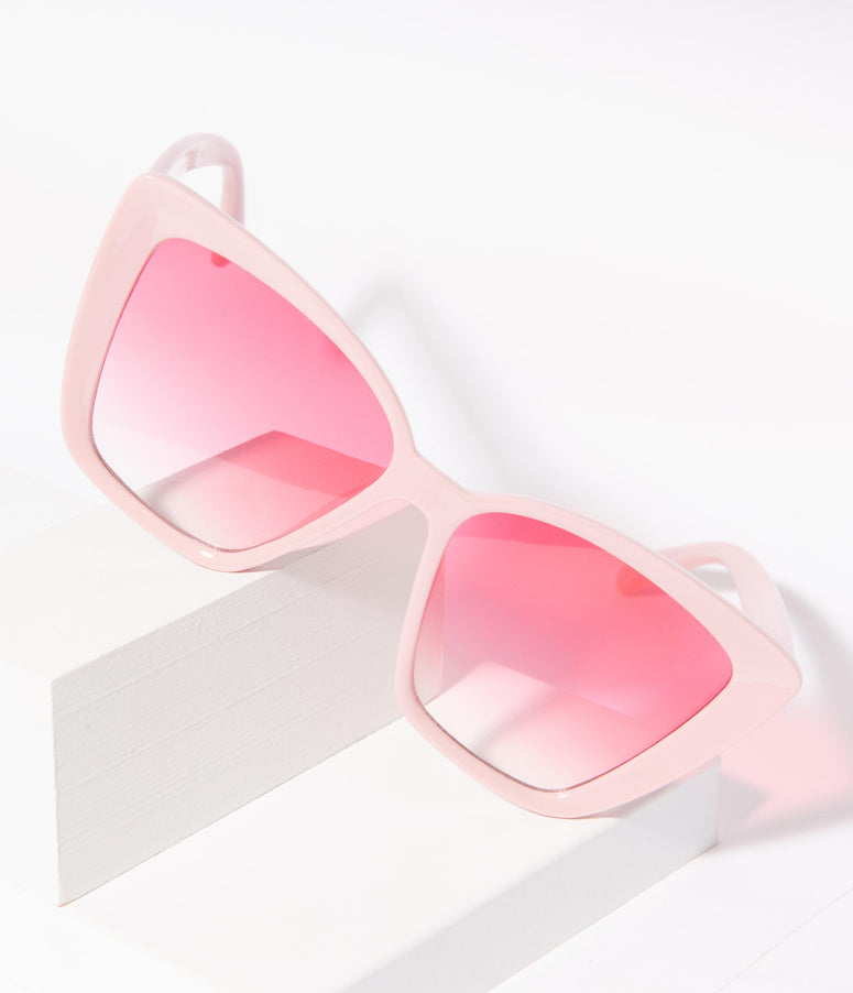 Light Pink Square Cat Eye Oversized Sunglasses