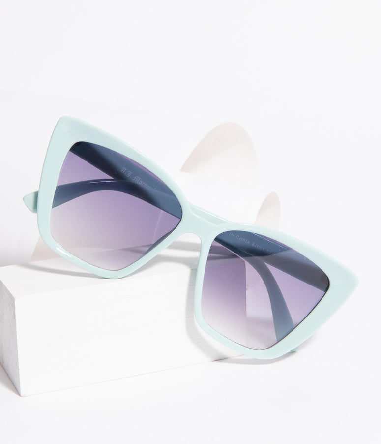 Teal Mint Square Cat Eye Oversized Sunglasses