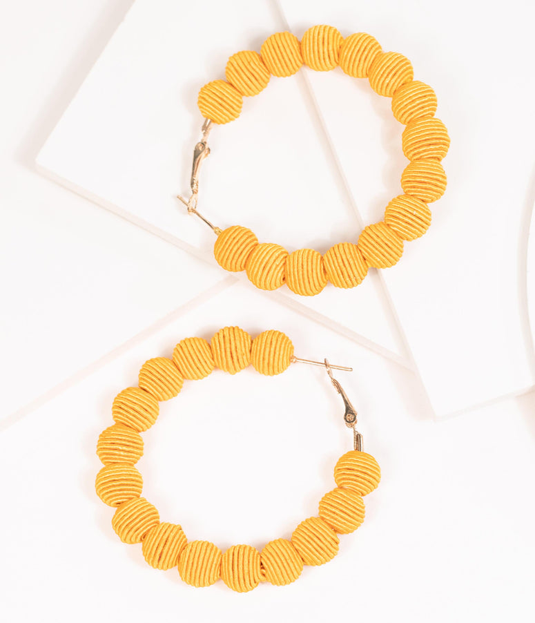1960s Style Mustard Woven Beaded Hoop Earrings