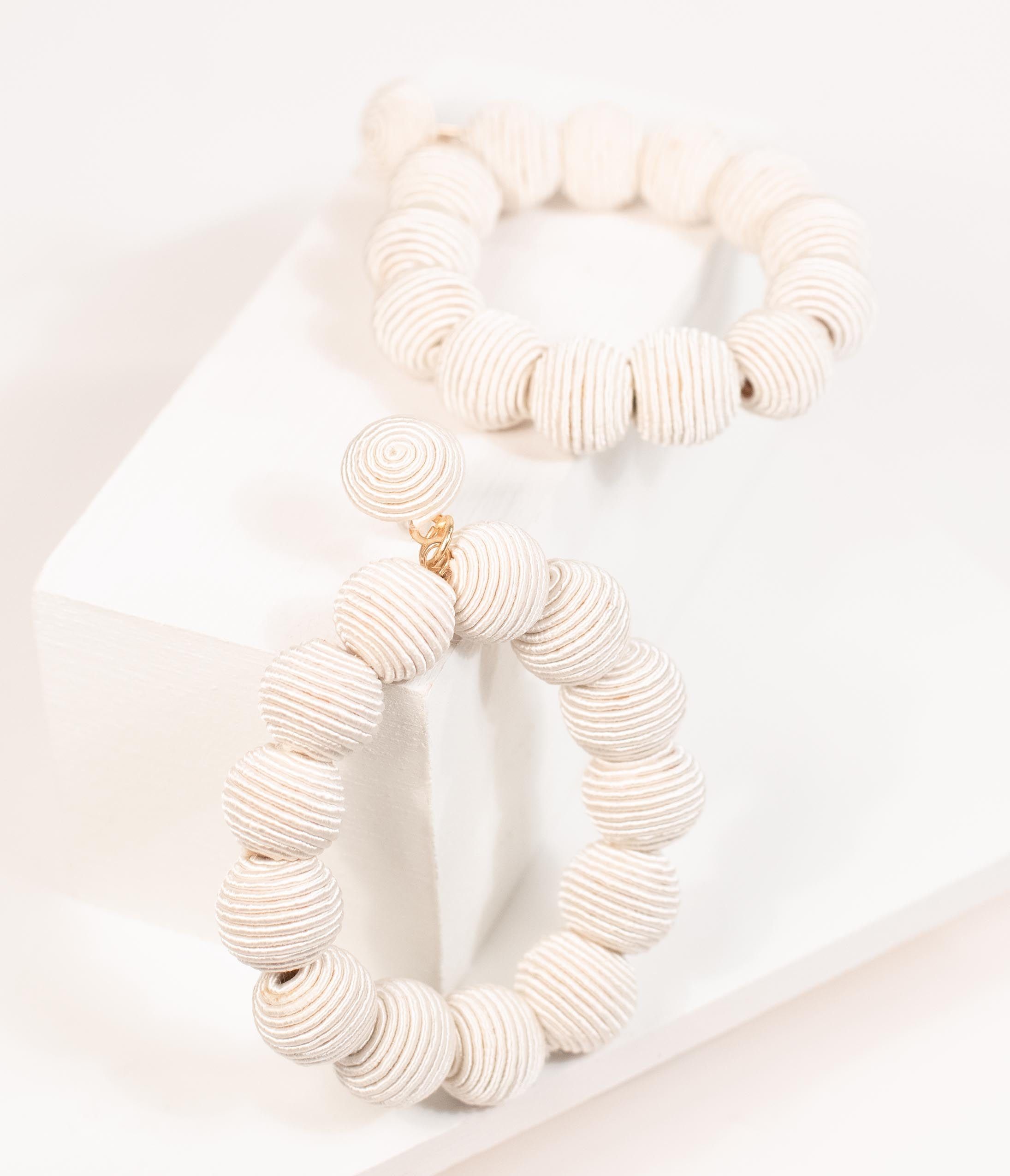 Vintage Style Jewelry, Retro Jewelry 1960S Style Ivory Woven Beaded Hoop Drop Earrings $38.00 AT vintagedancer.com