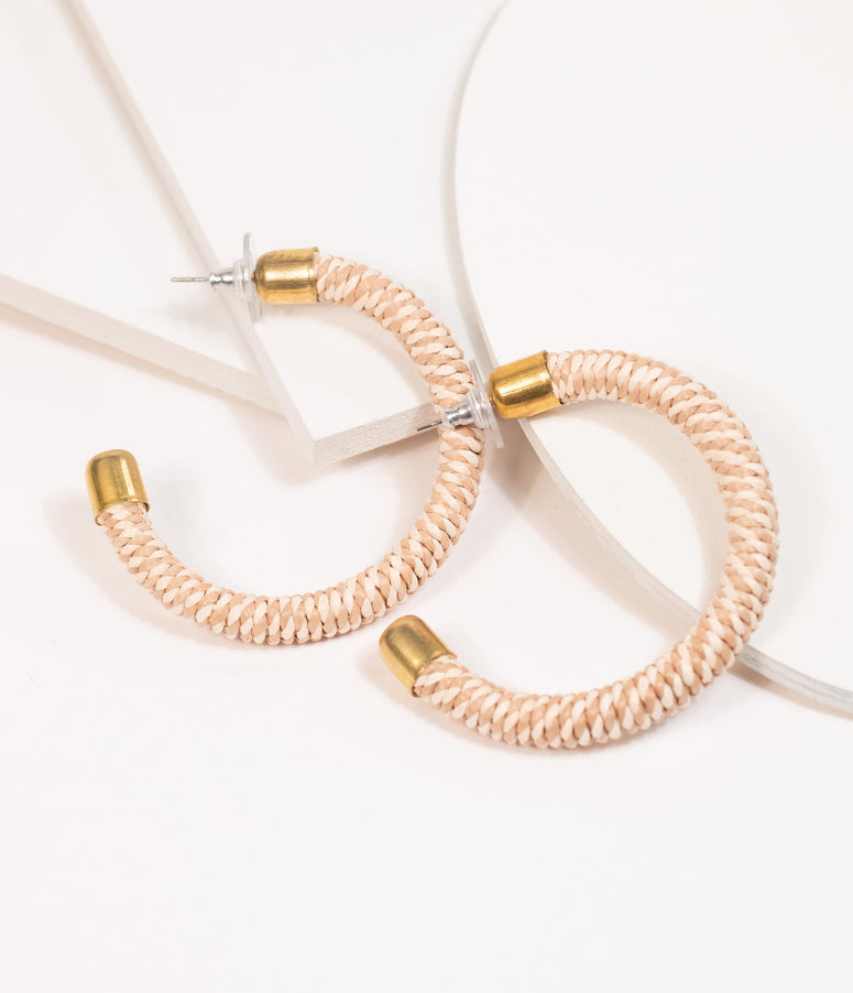 1970s Style Tan & Ivory Woven Half Hoop Earrings