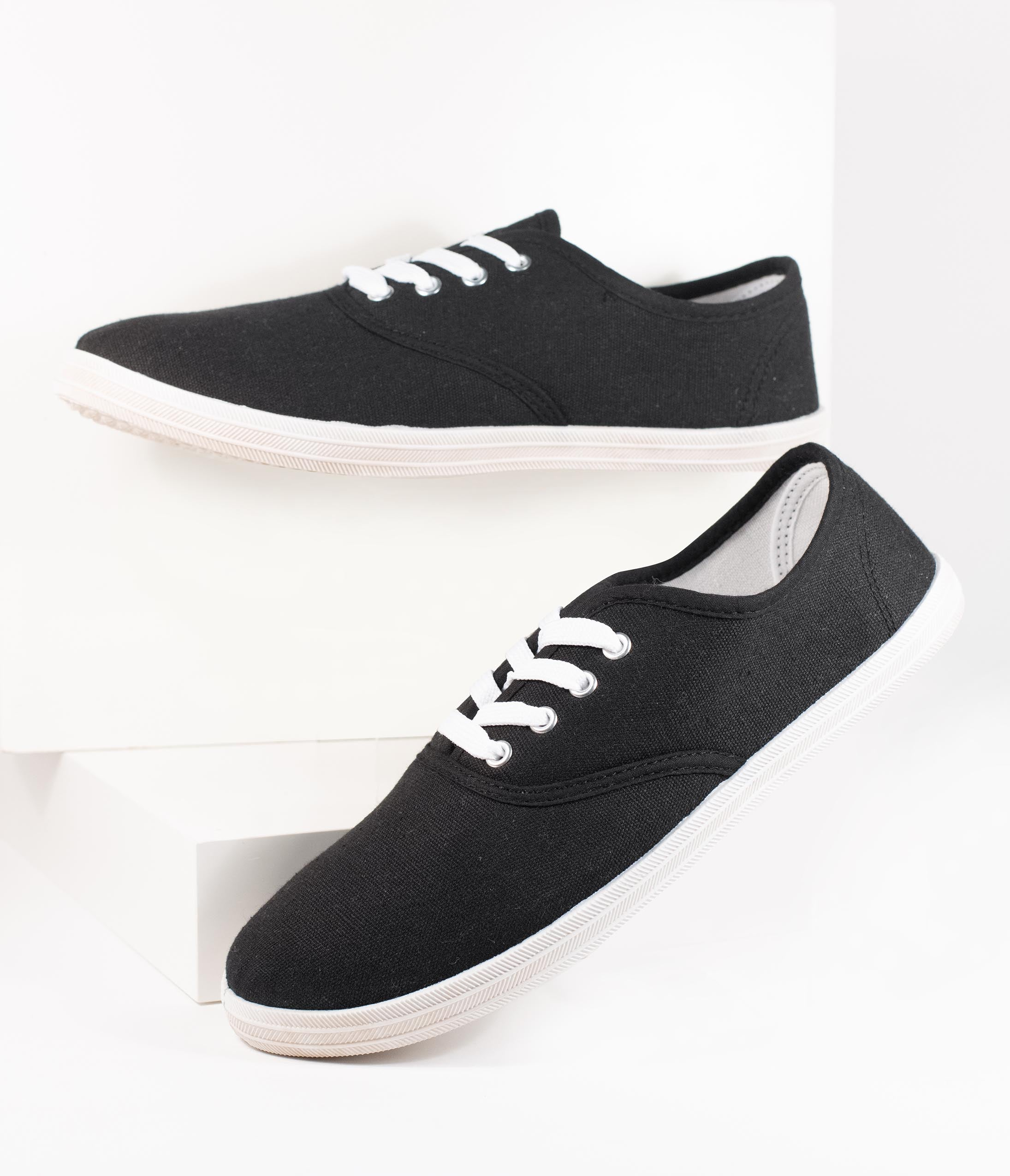 1950s Style Shoes | Heels, Flats, Boots Black Canvas Ladies Sneakers $18.00 AT vintagedancer.com