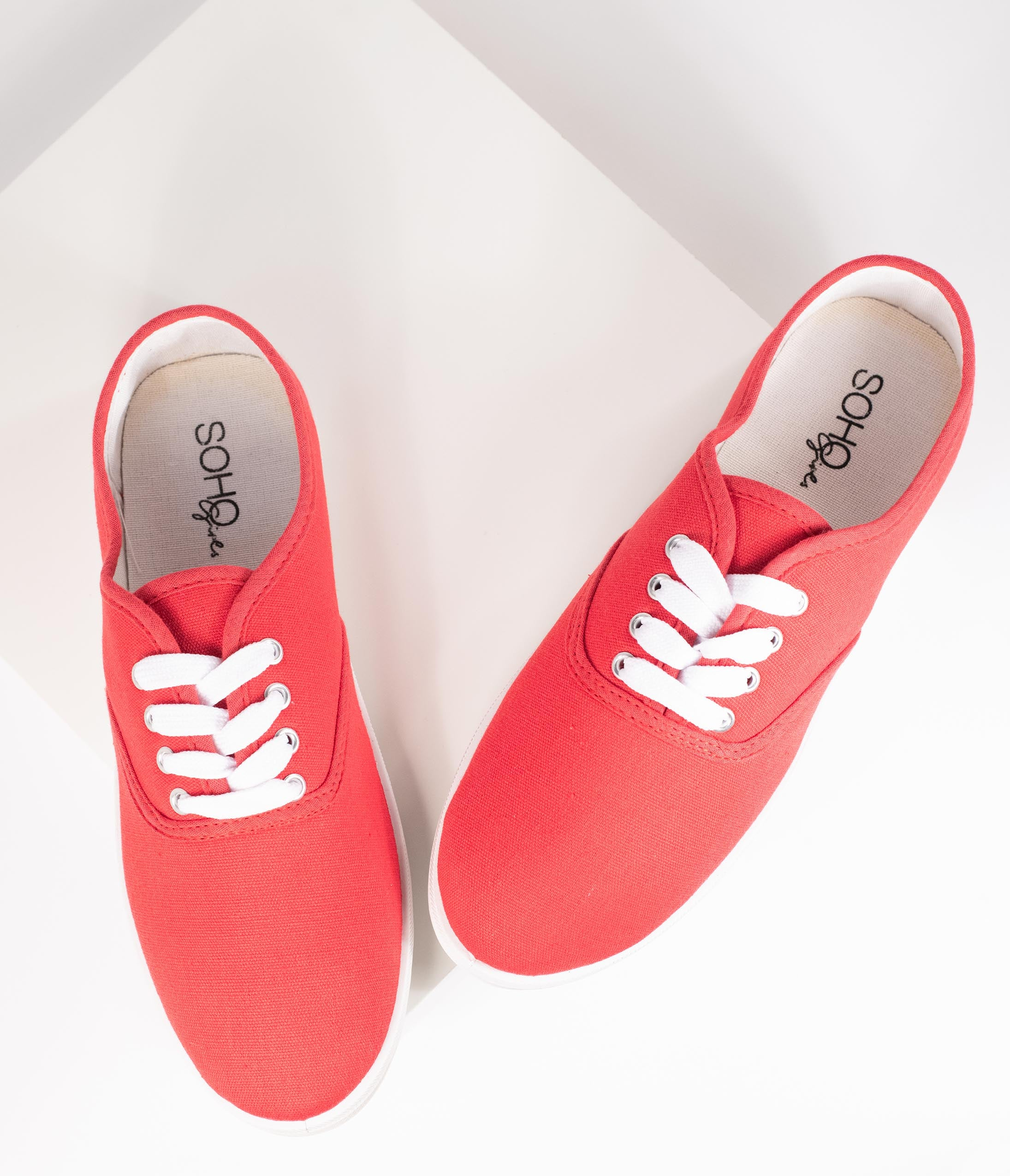1950s Style Shoes | Heels, Flats, Boots Red Canvas Ladies Sneakers $18.00 AT vintagedancer.com