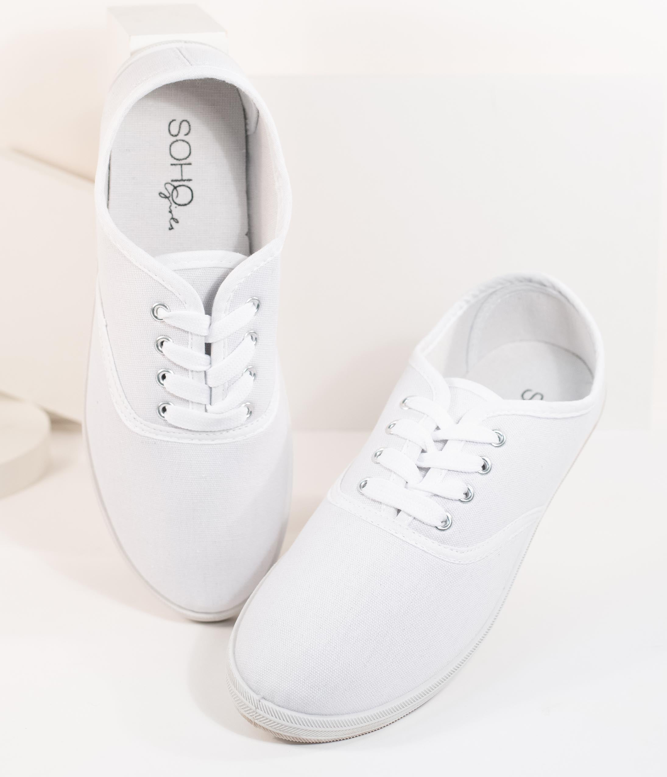 1950s Style Shoes | Heels, Flats, Boots White Canvas Ladies Sneakers $18.00 AT vintagedancer.com