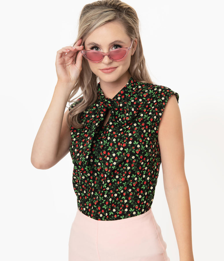 Retrolicious Strawberry Fields Print Sleeveless Bow Blouse