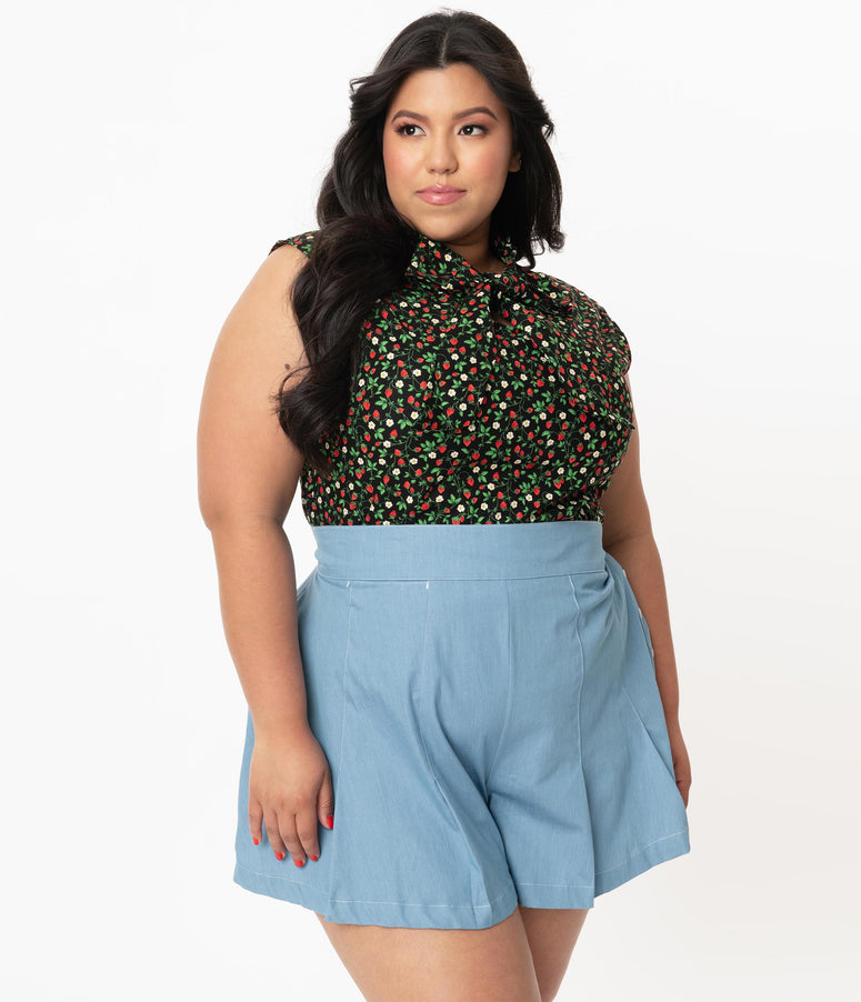 Retrolicious Plus Size Strawberry Fields Print Sleeveless Bow Blouse