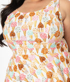 Retrolicious Plus Size Ice Cream Print Fit & Flare Dress