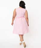 Retrolicious Plus Size Pink & White Gingham Swing Dress