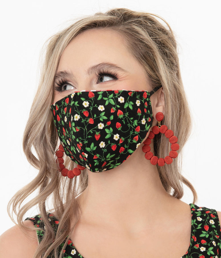 Retrolicious Strawberry Fields & Red Gingham Print Reversible Face Mask