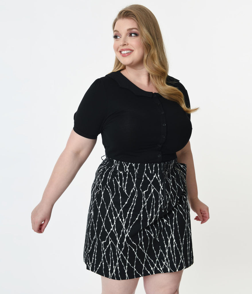 Plus Size Black Bat Collar Blouse