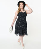 Plus Size Retro Style Black & Midnight Sky Print Flare Dress