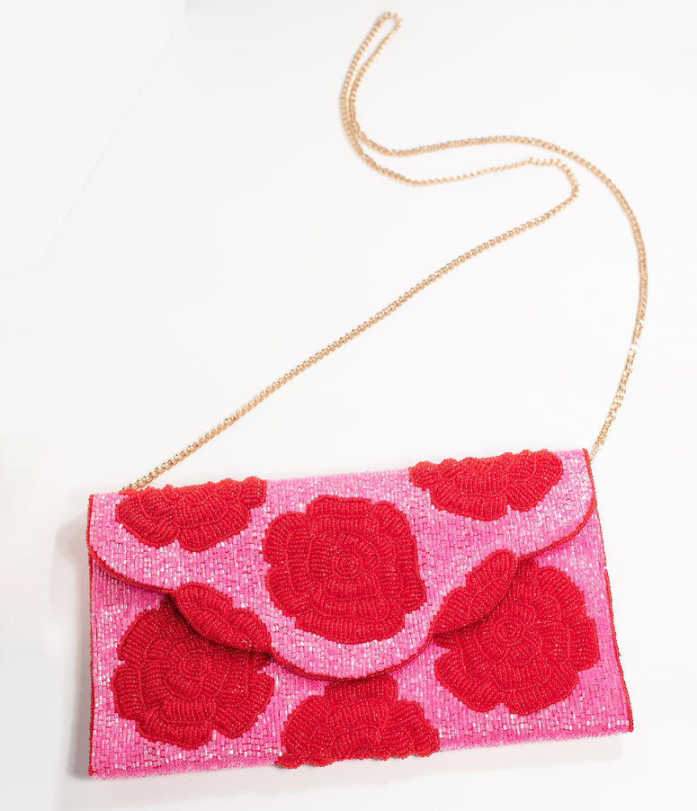 Pink & Red Floral Rose Beaded Envelope Clutch