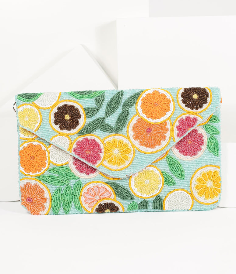 Citrus Bounty Beaded Envelope Clutch