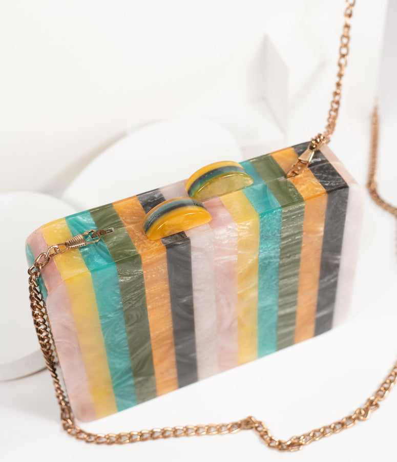 1960s Style Multicolor Striped Resin Hard Clutch