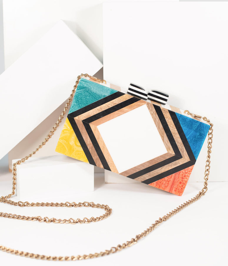 1960s Style Rainbow Chevron Wood & Resin Hard Clutch