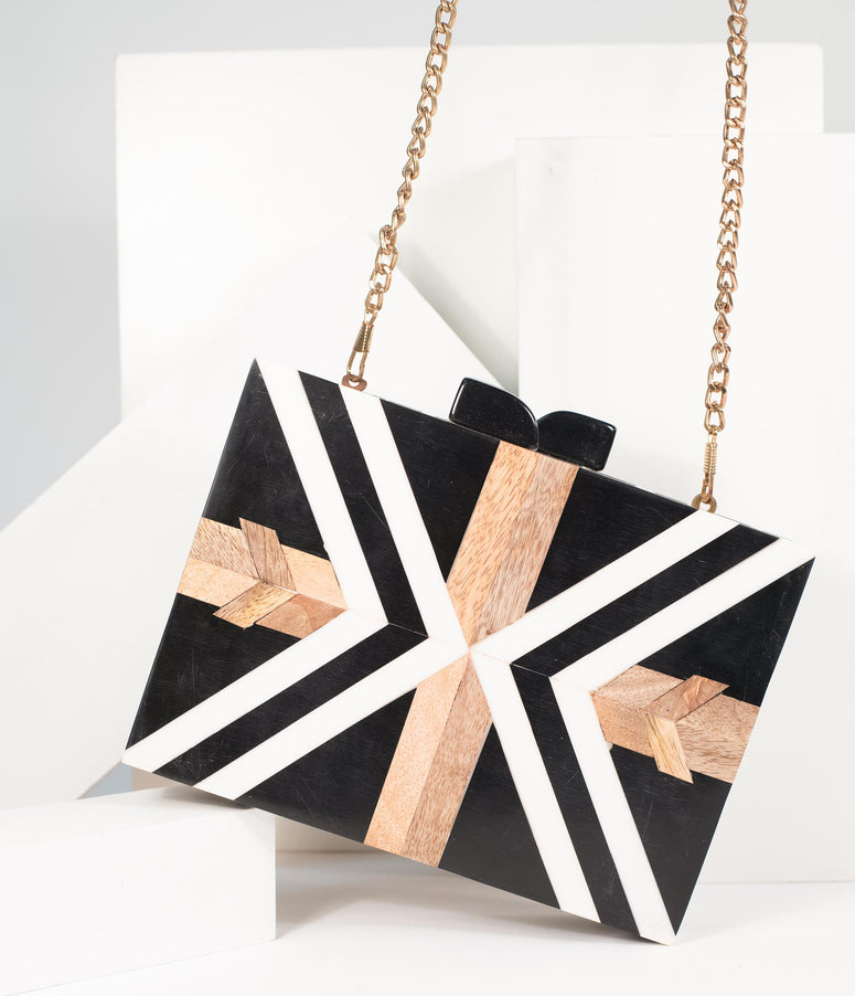 Retro Style Black & White Chevron Wood & Resin Hard Clutch