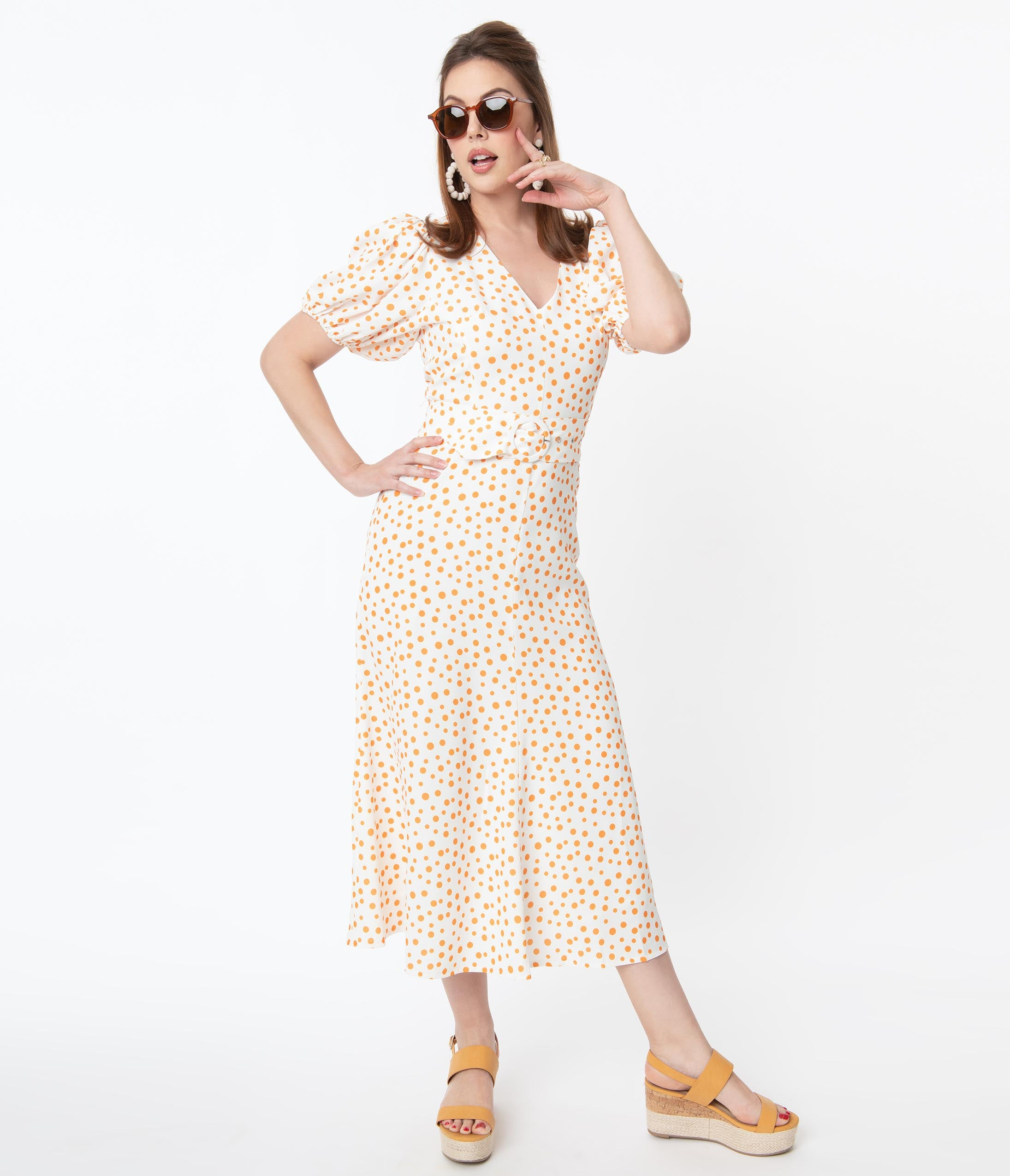 Plus Size Polka Dot Dresses – Vintage 40s, 50s, 60s, 70s Dresses Off White  Orange Polka Dot Catherine Maxi Dress $98.00 AT vintagedancer.com