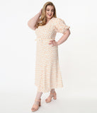 Plus Size Off White & Orange Polka Dot Catherine Maxi Dress