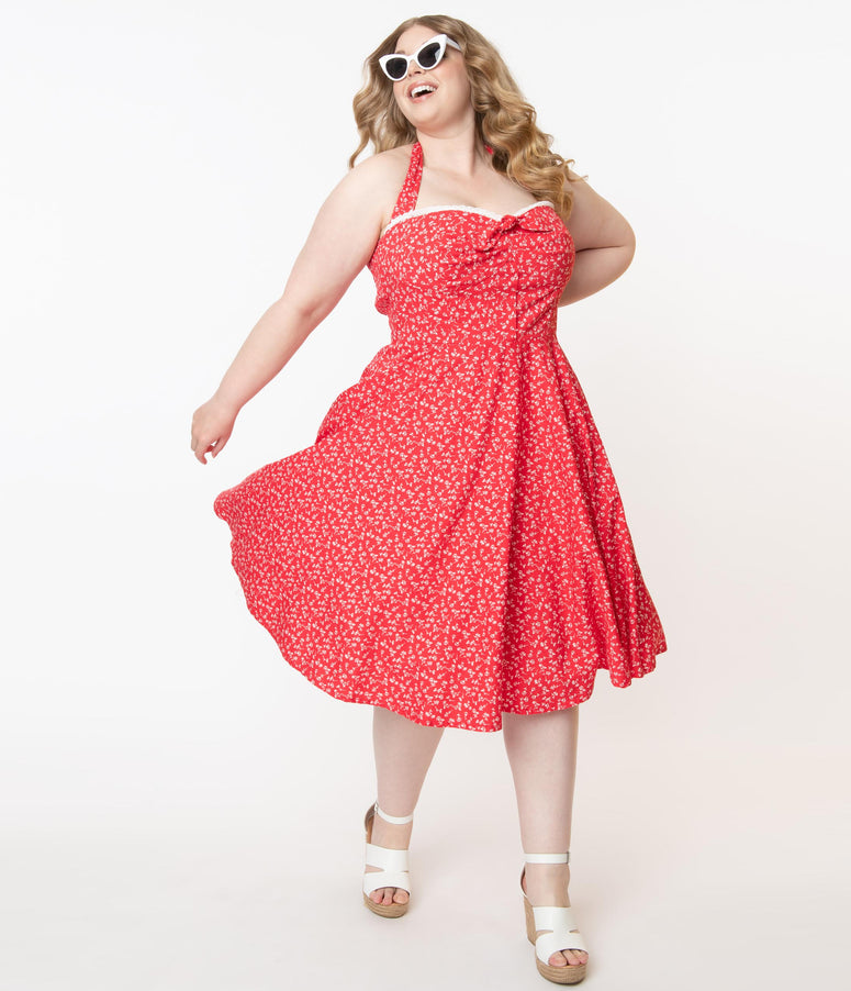 Plus Size Retro Red & White Floral Halter Kimberley Swing Dress