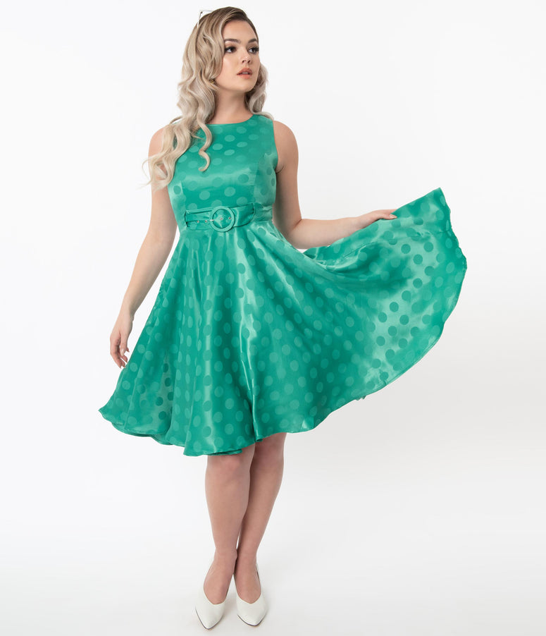 Vintage Green Polka Dot Lalita Swing Dress
