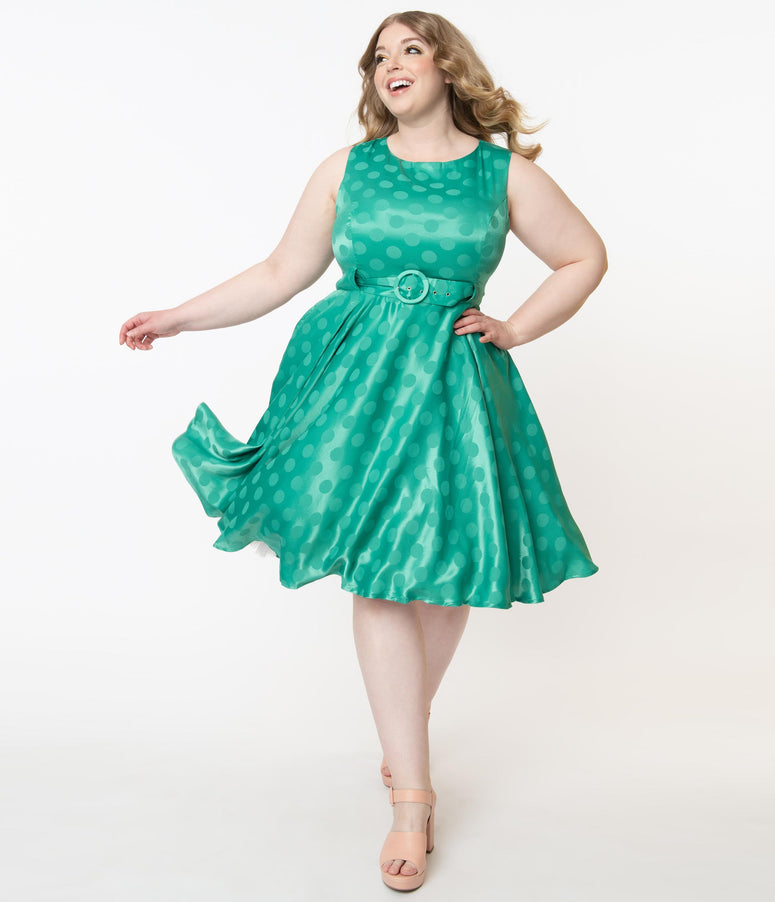 Plus Size Vintage Green Polka Dot Lalita Swing Dress