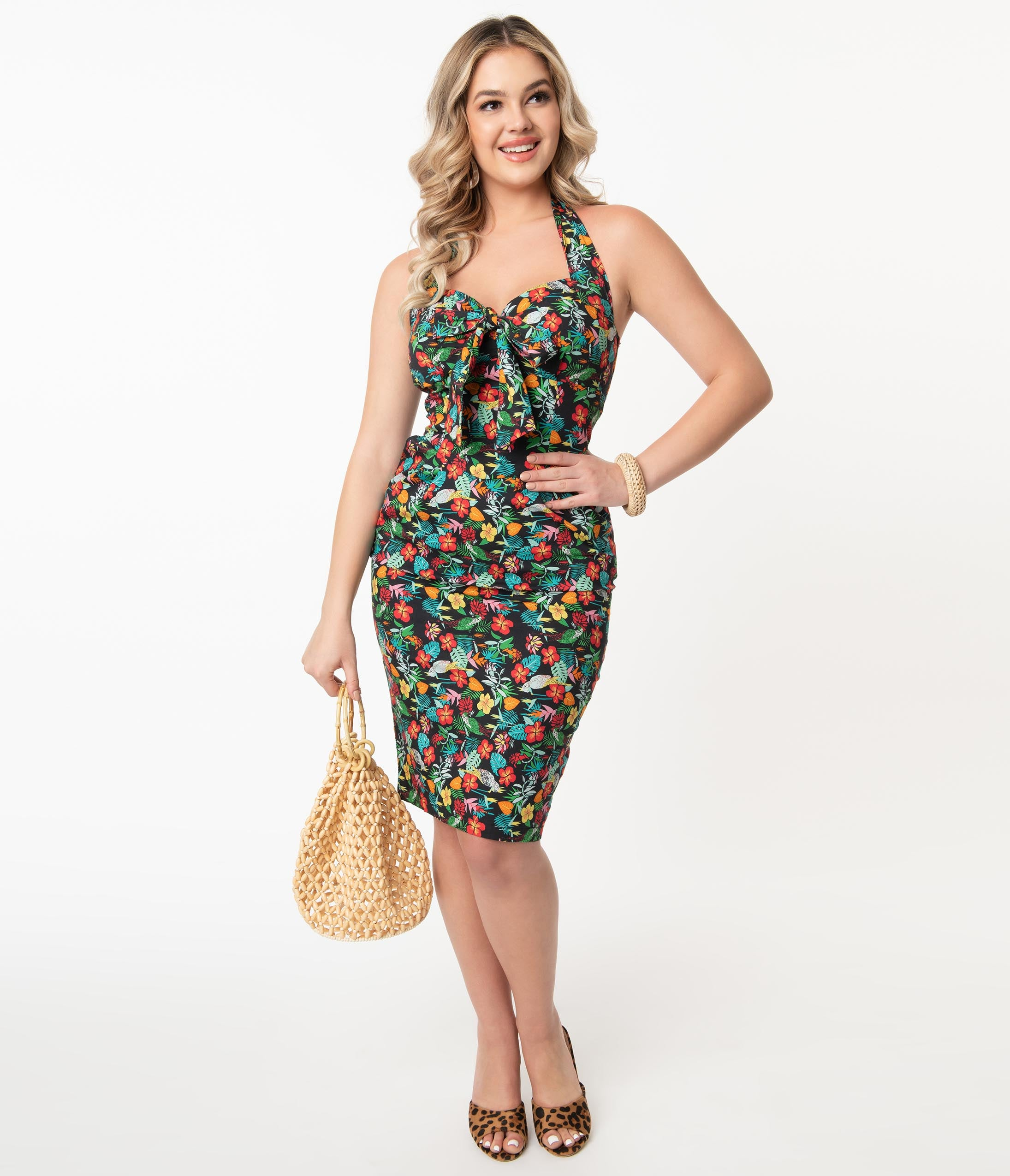 Pin Up Dresses | Pinup Clothing & Fashion Multicolor Tropical Floral Print Pippa Wiggle Dress $88.00 AT vintagedancer.com