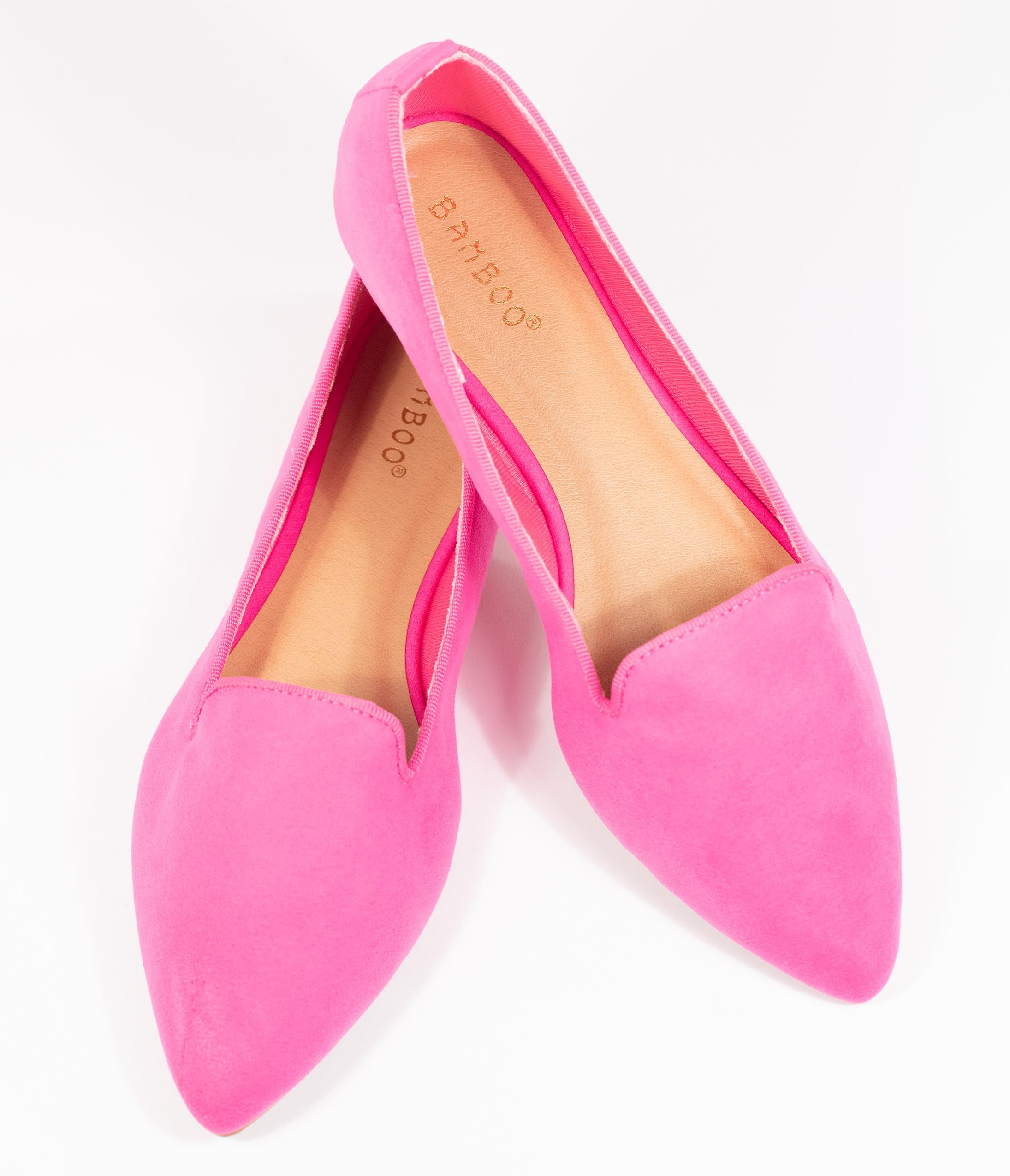 80s Shoes, Sneakers, Jelly flats Hot Pink Suede Loafer Flats $42.00 AT vintagedancer.com