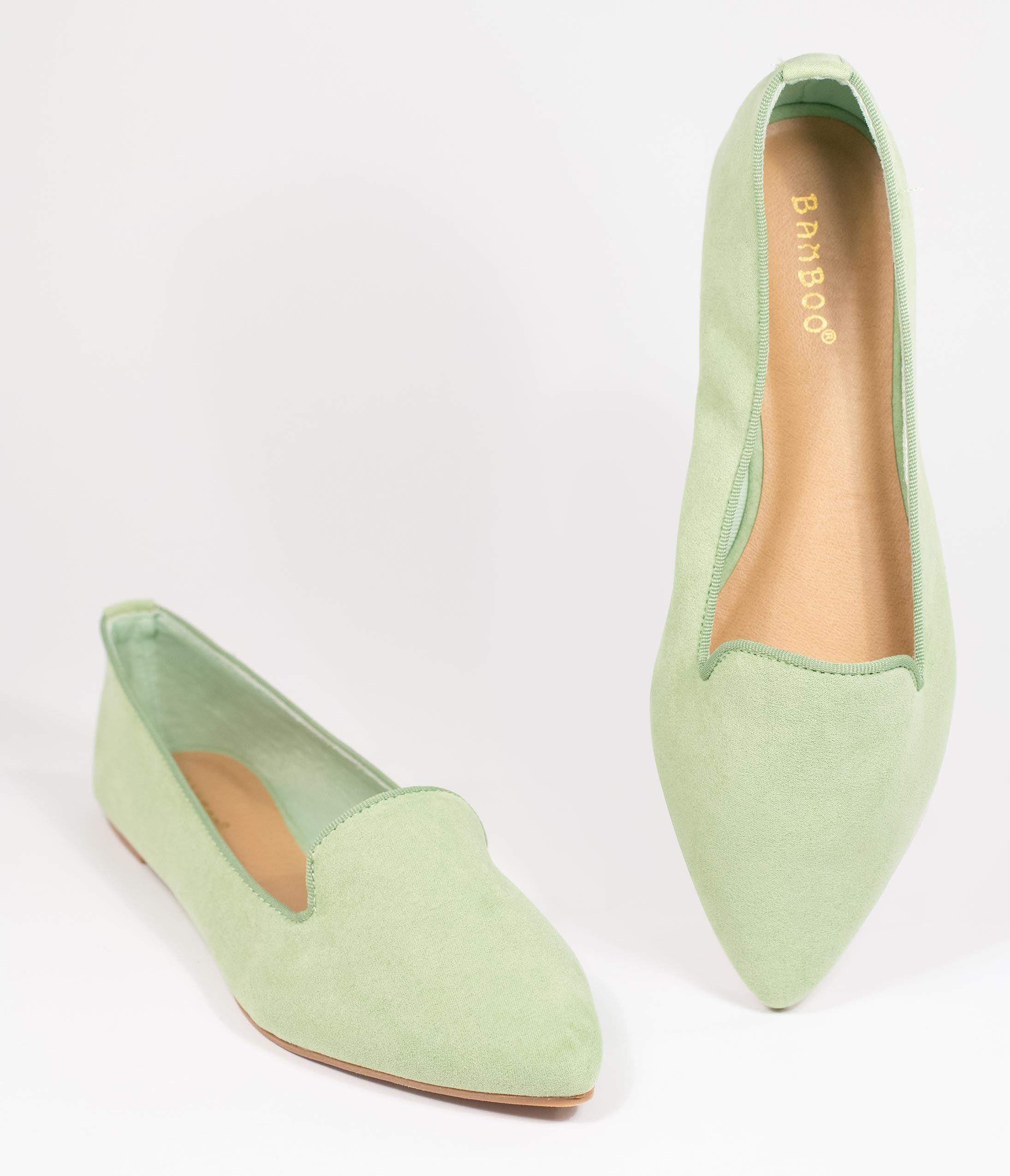 80s Shoes, Sneakers, Jelly flats Mint Suede Loafer Flats $42.00 AT vintagedancer.com