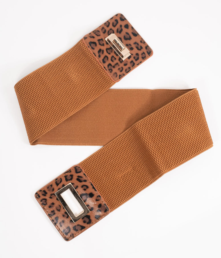 Brown Leopard Elastic Cinch Belt