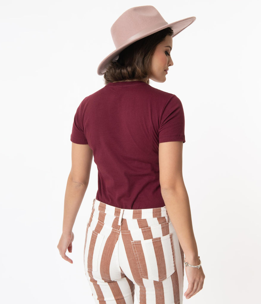 Unique Vintage Maroon Rodeo Fitted Graphic Tee