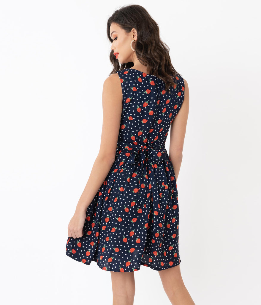1960s Navy & Red Strawberry Dot Print Fit & Flare Dress