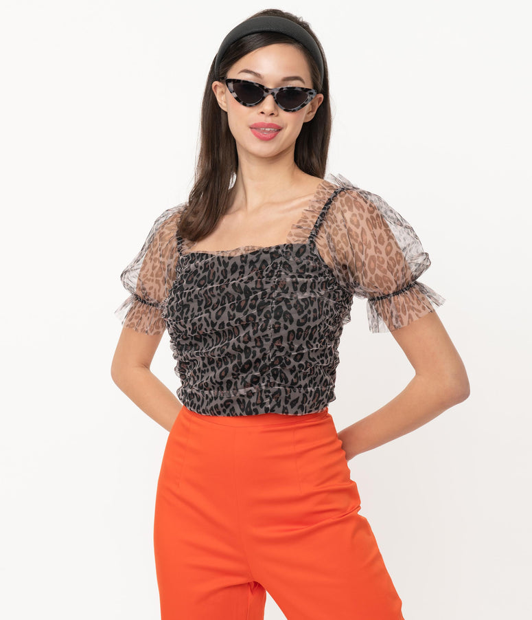 Leopard Print Mesh Ruched Crop Top