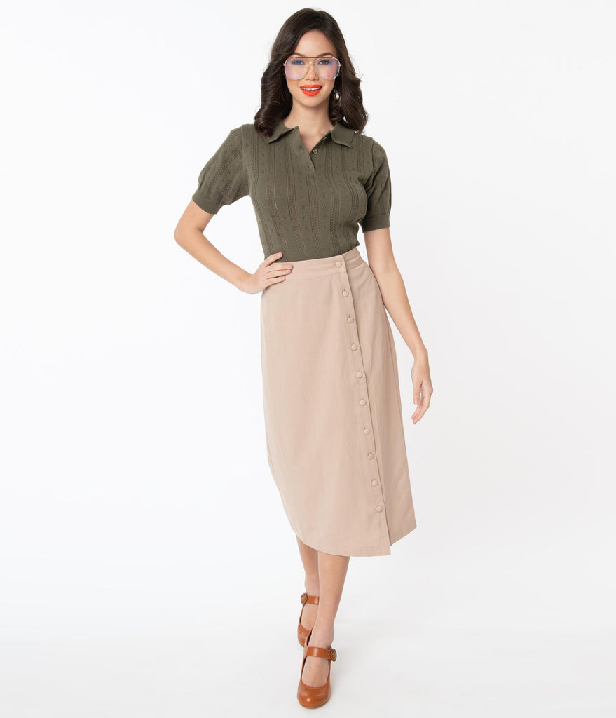 Retro Tan Button Up Fitted Midi Skirt