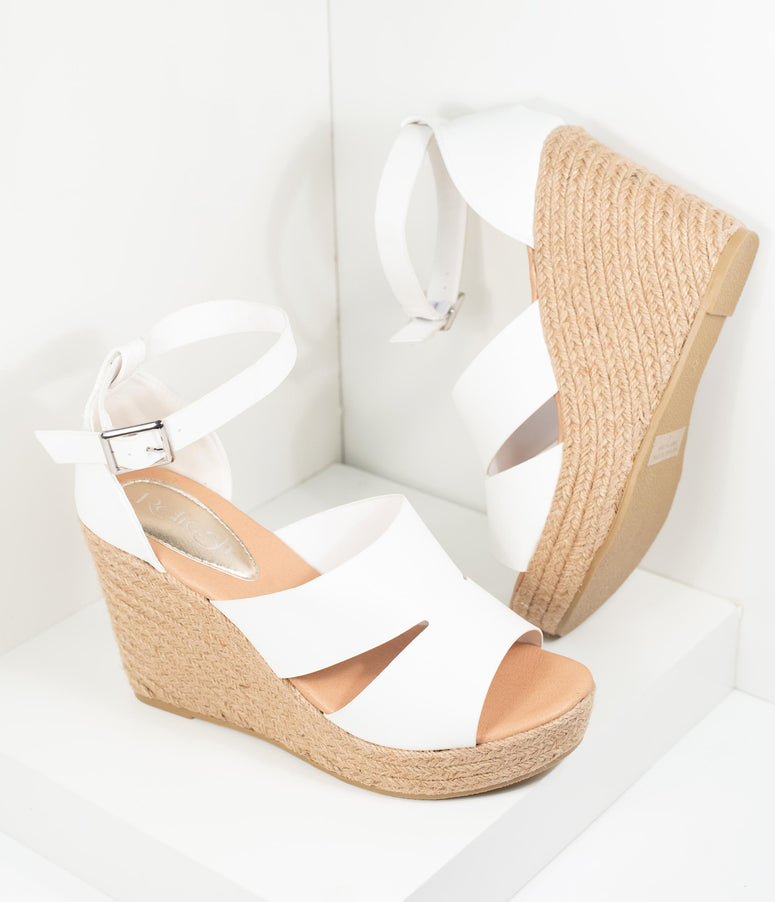 White Leatherette Espadrille Wedge Sandals