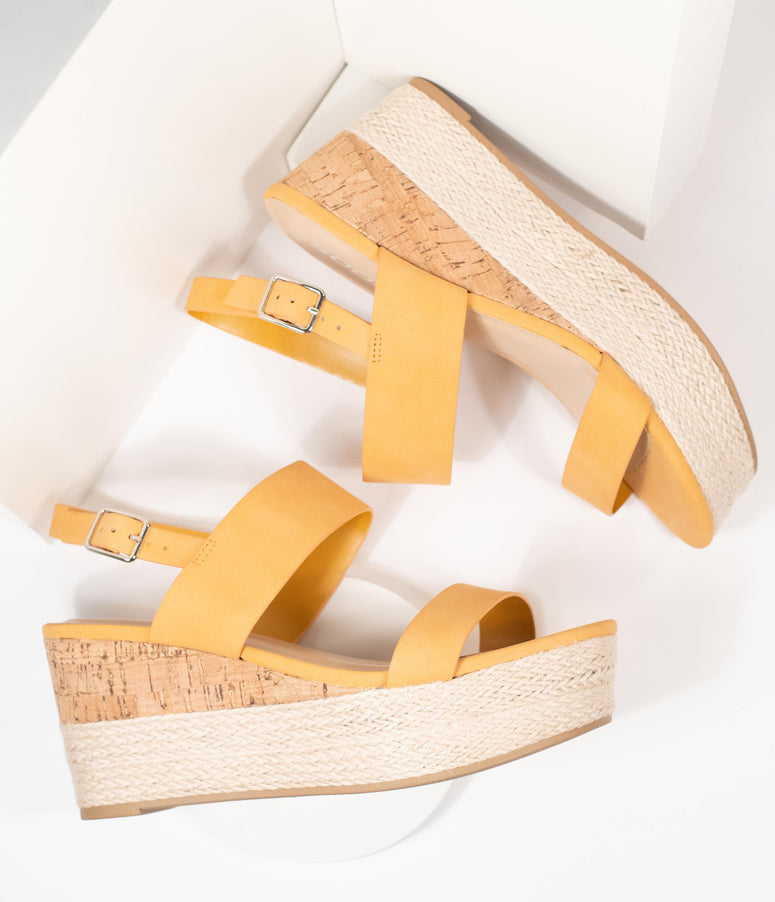 Mango Cork & Espadrille Wedge Sandals