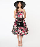 Magnolia Place 1950s Black & Pink Floral Ray Swing Dress