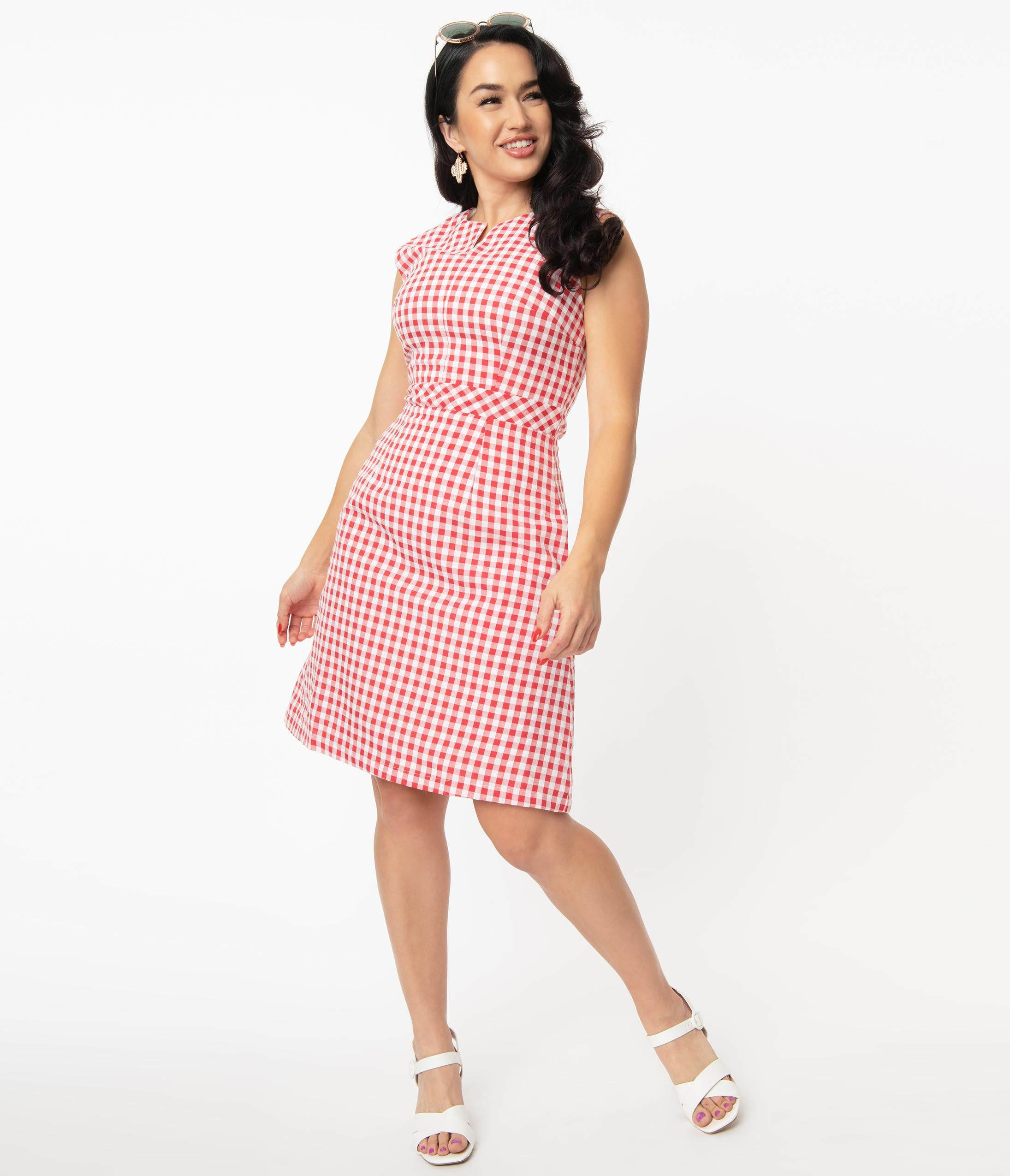 60s 70s Plus Size Dresses, Clothing, Costumes Magnolia Place Red  White Gingham Fit  Flare Dress $88.00 AT vintagedancer.com