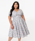 Magnolia Place Plus Size Dusty Blue & Pink Floral Alyssa Swing Dress