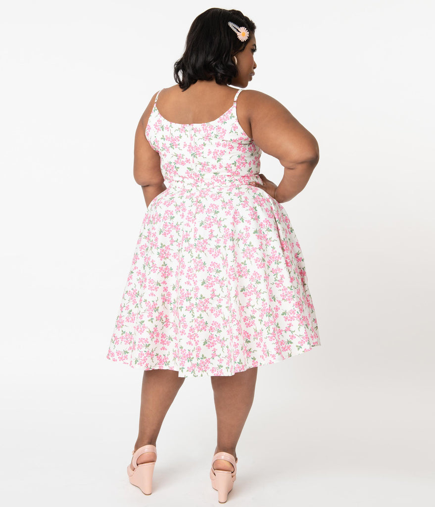 Magnolia Place Plus Size 1950s Cream & Pink Floral Ray Swing Dress