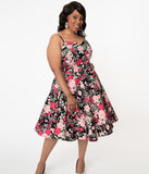 Magnolia Place Plus Size 1950s Black & Pink Floral Ray Swing Dress