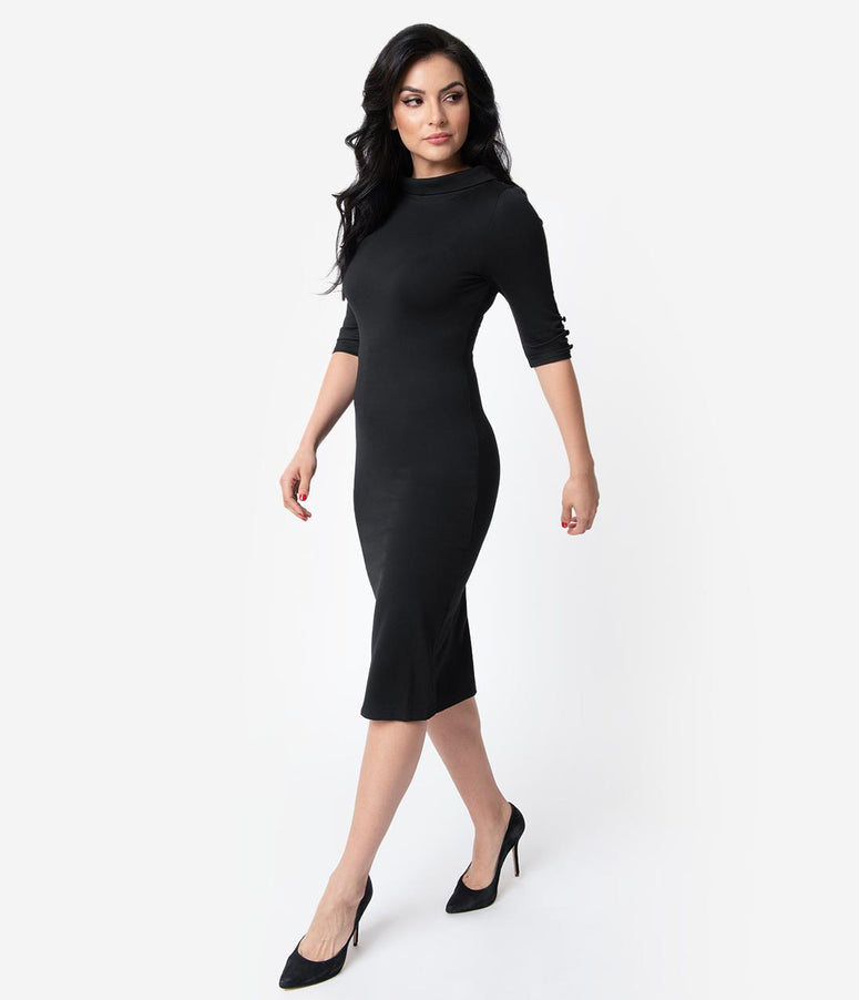 Unique Vintage 1960s Style Black Knit Half Sleeve Cassidy Wiggle Dress