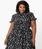 Magnolia Place Plus Size 1950s Black & White Cat Print Eleanor Top