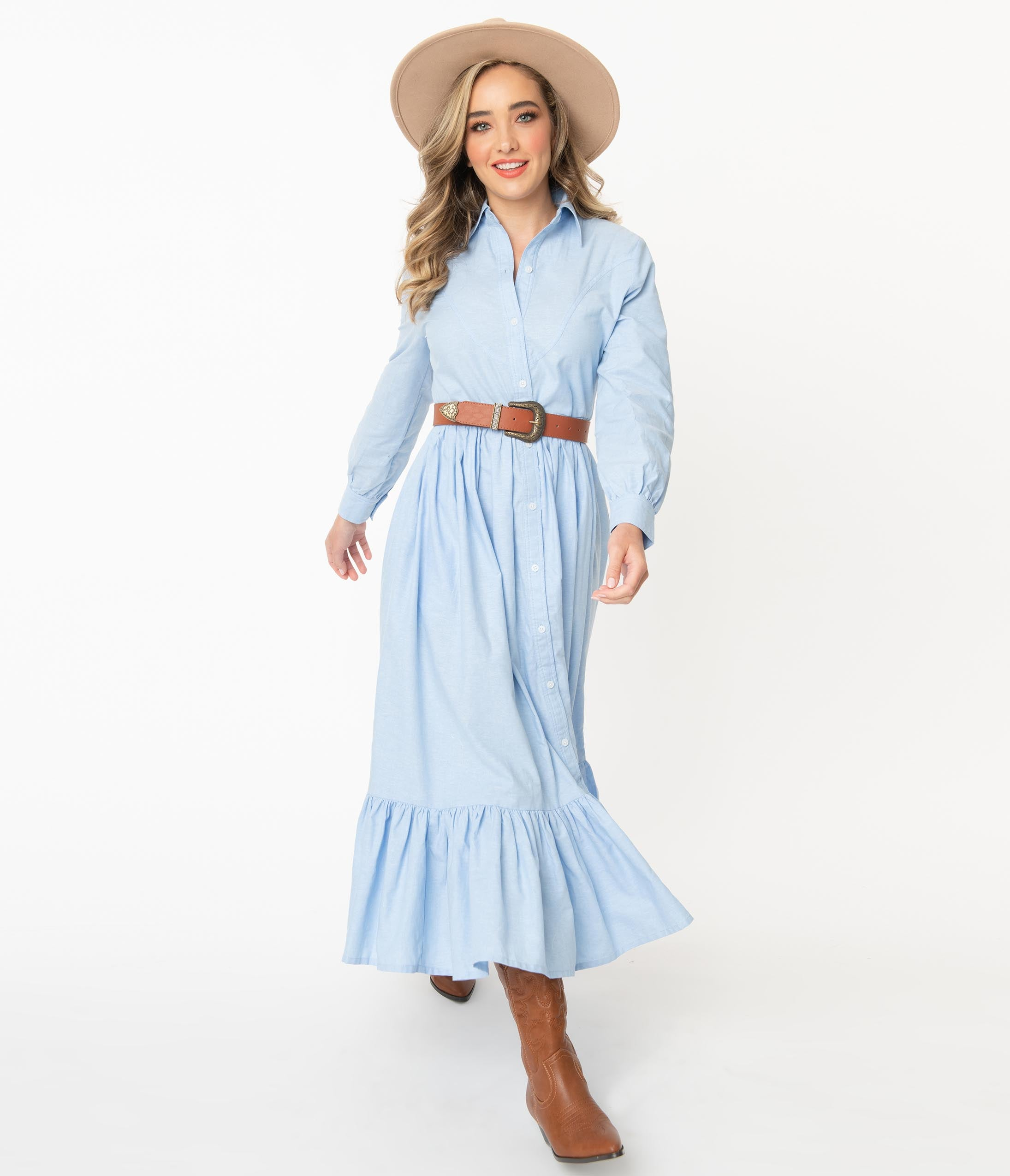 70s Outfits – 70s Style Ideas for Women Magnolia Place Western Style Chambray Maxi Dress $88.00 AT vintagedancer.com