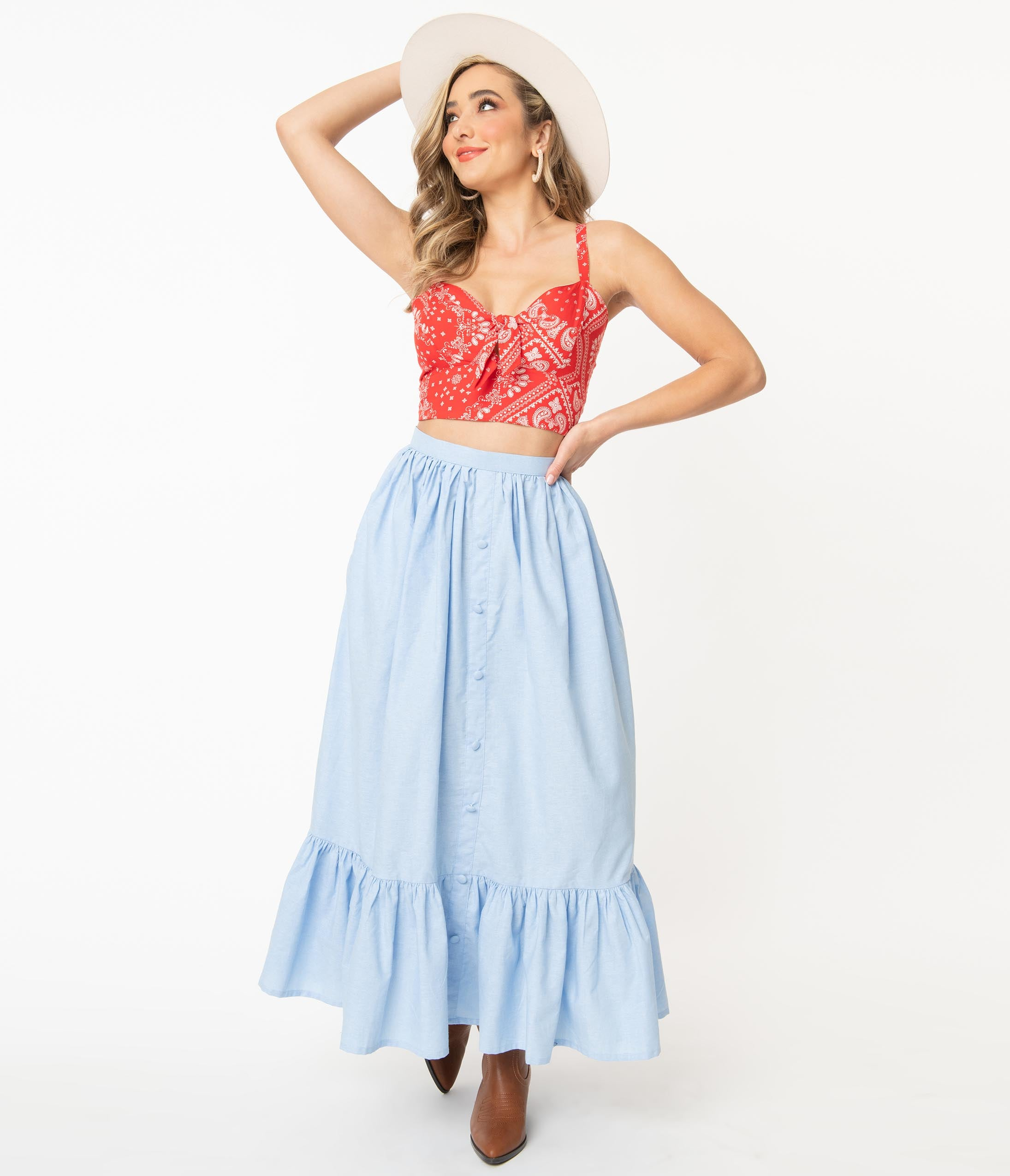 Vintage Skirts | Retro, Pencil, Swing, Boho Magnolia Place Western Style Chambray Maxi Skirt $58.00 AT vintagedancer.com