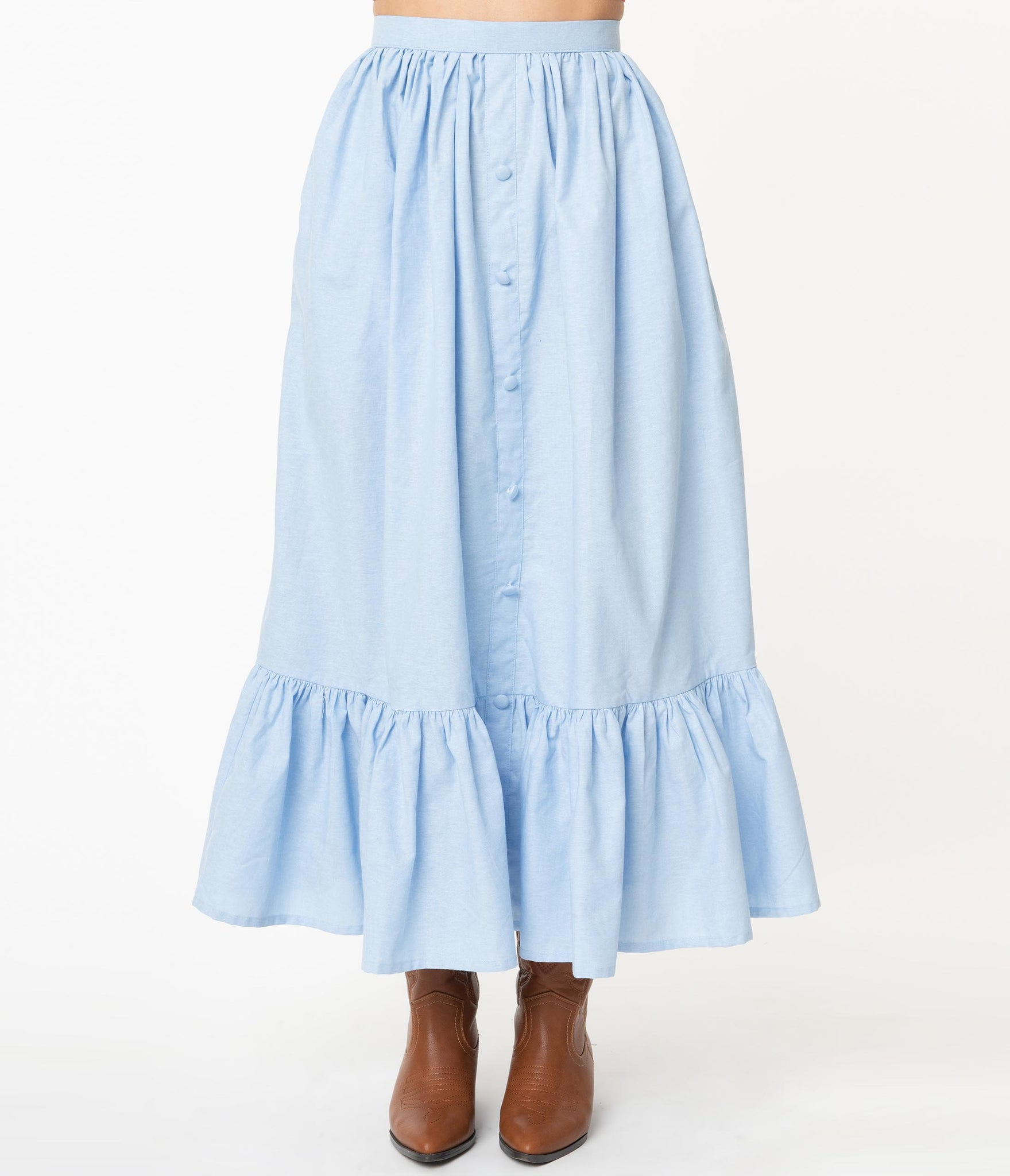Magnolia Place Western Style Chambray Maxi Skirt