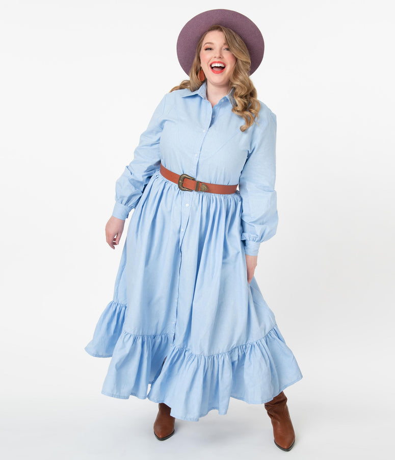 Magnolia Place Plus Size Western Style Chambray Maxi Dress