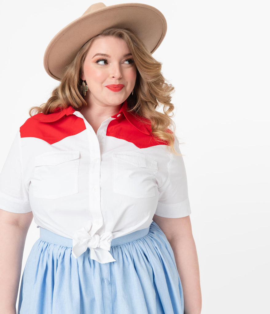 Magnolia Place Plus Size White & Red Yoke Western Tie Crop Top