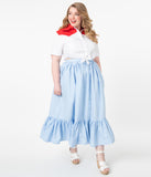 Magnolia Place Plus Size Western Style Chambray Maxi Skirt