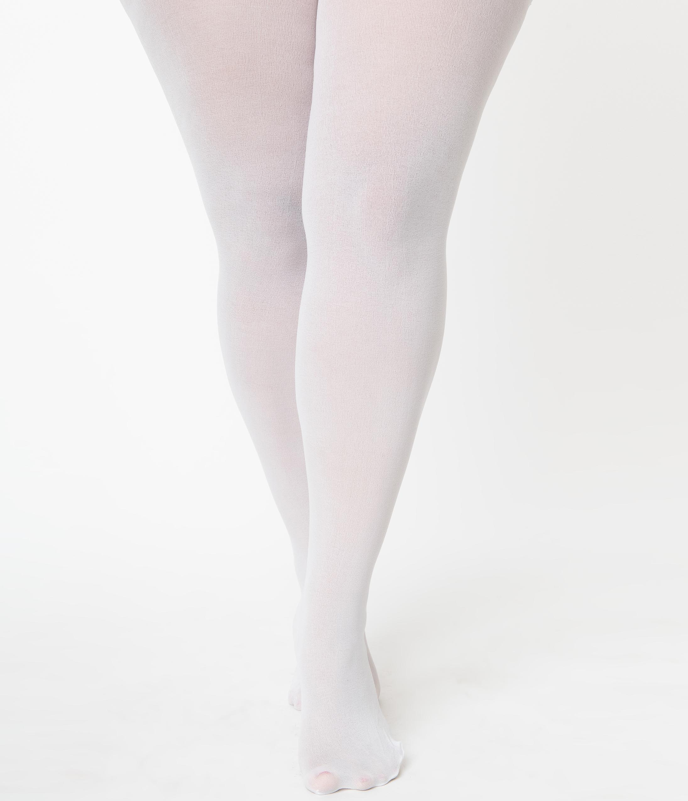 1960s – 1970s Lingerie & Nightgowns Plus Size White Nylon Opaque Tights $14.00 AT vintagedancer.com